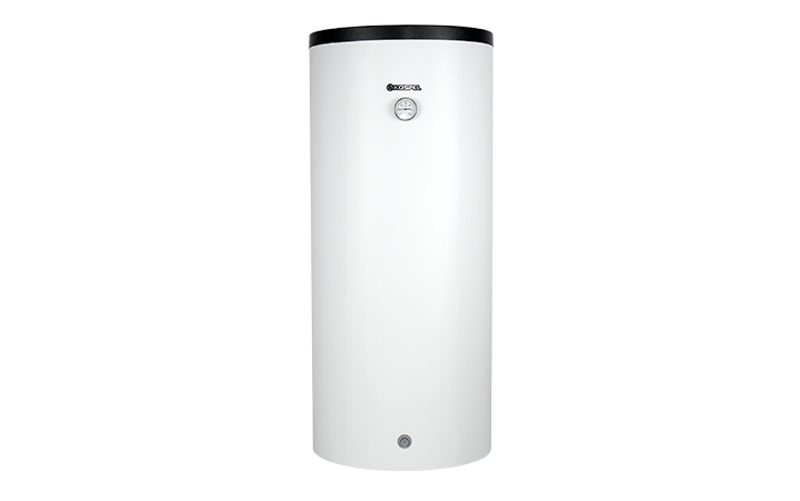 Vertical hot water cylinder with CH buffer